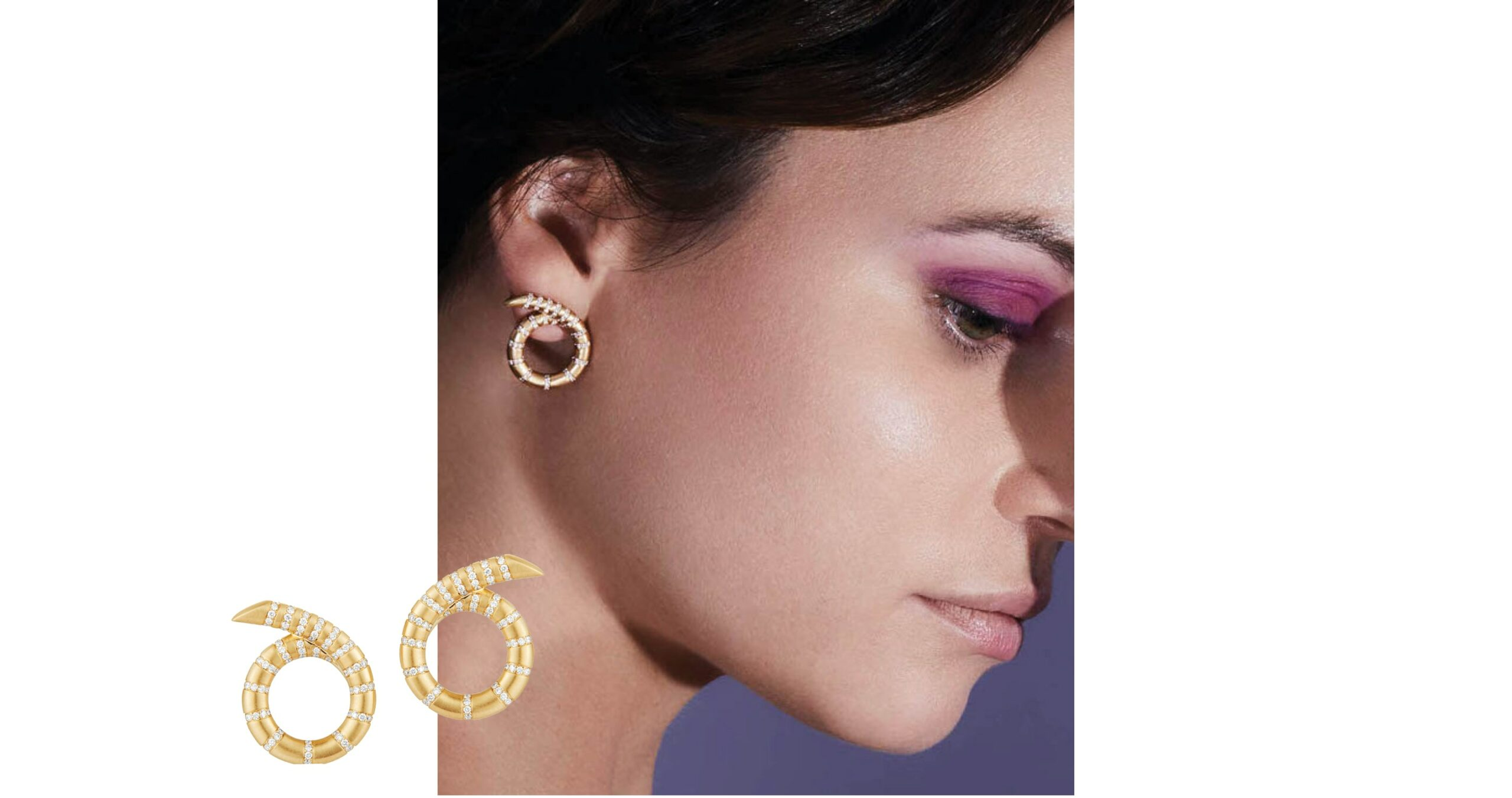 Aria Coil Earrings from Jemma Wynne that features chunky twisted gold hoop earrings design with spiraled diamond outlines