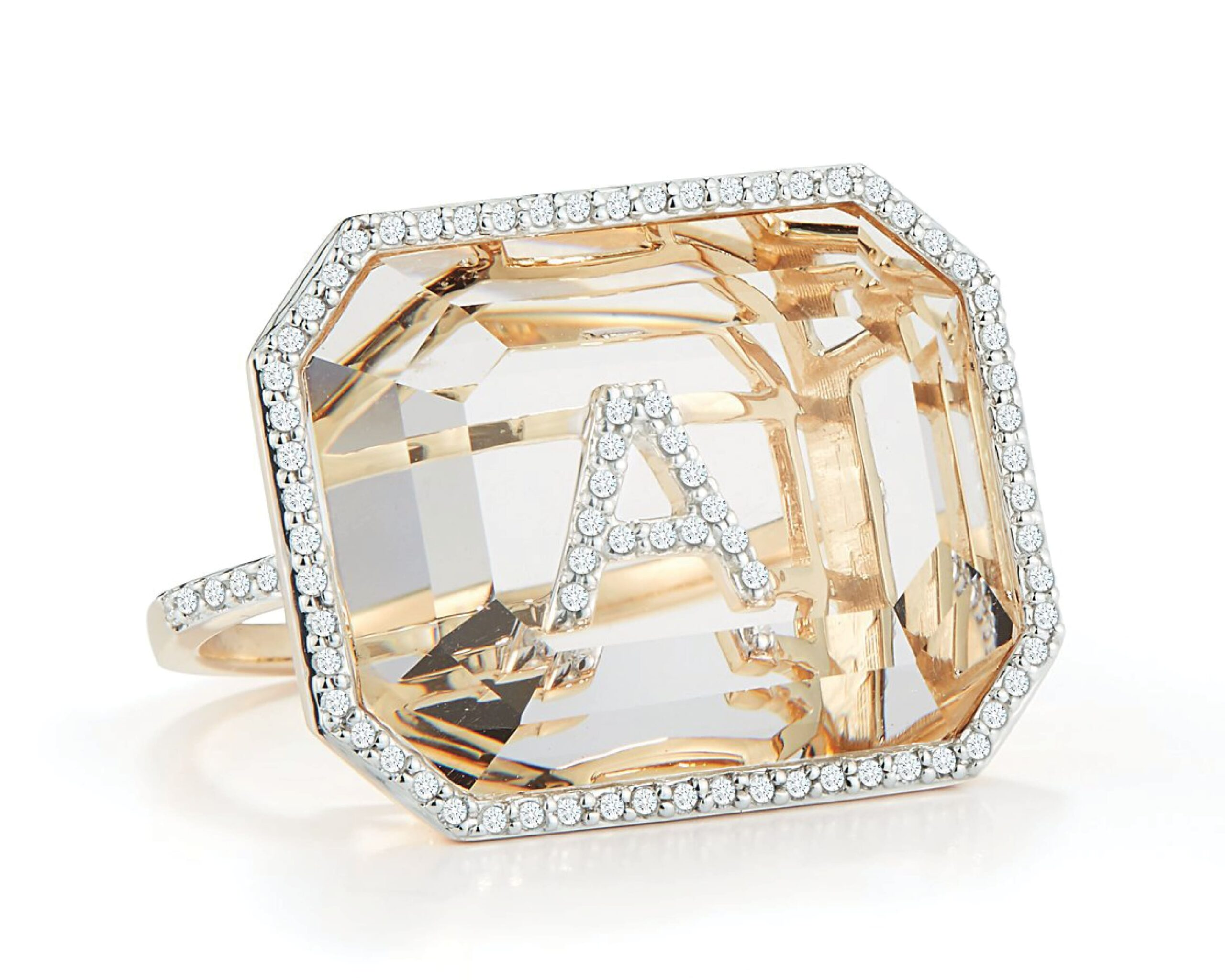 Crystal Quartz Secret Diamond Initial Ring from Mateo that features modern crystal quartz stones with diamond halos and diamond letters