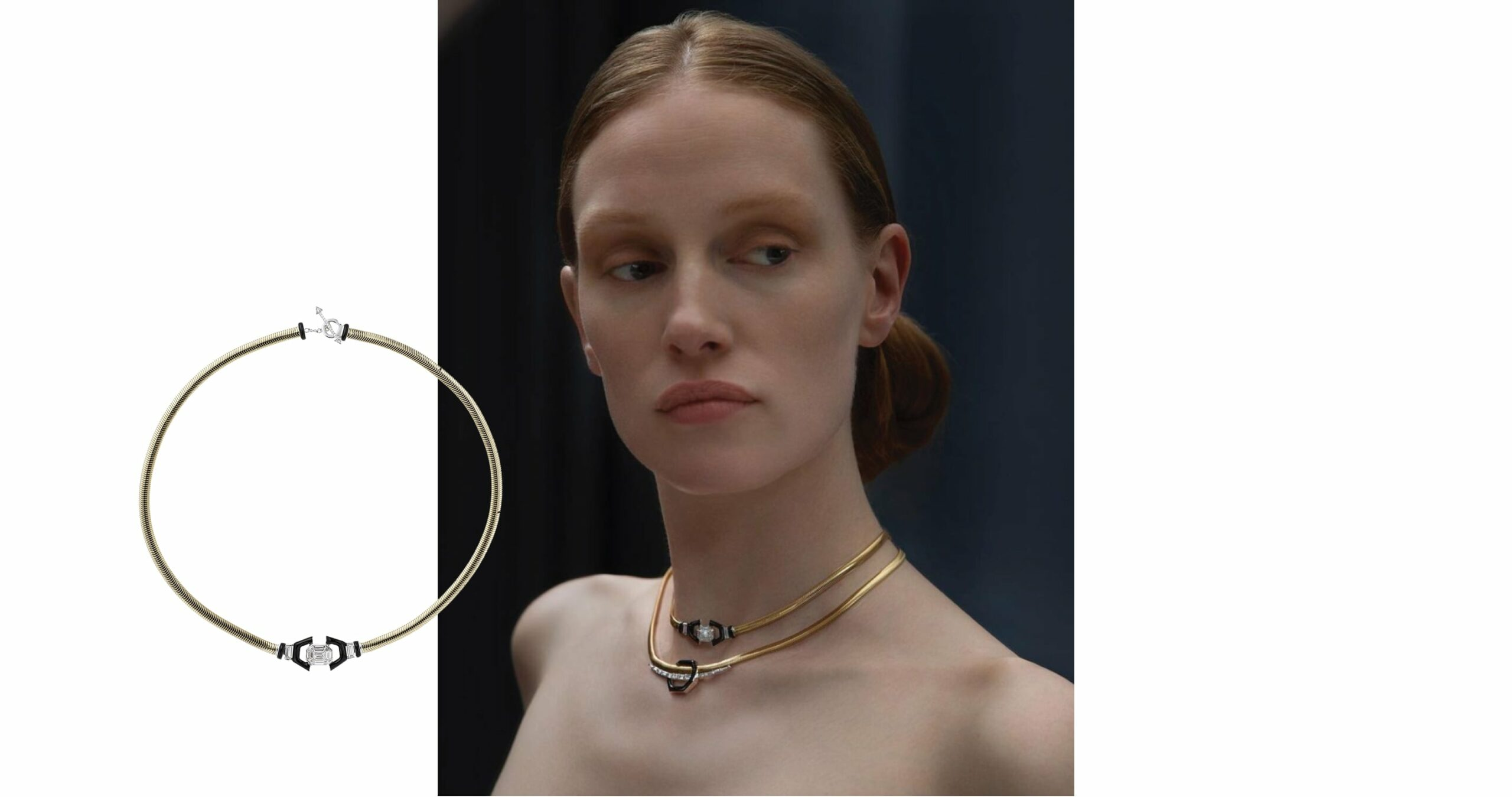 Feelings Collection Diamond Choker Necklace from Nikos Koulis featuring a gold band with a central diamond surrounded in black enamel