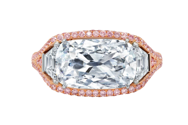 Custom Cushion Diamond Ring with 2 Trapezoid Diamonds Set in 18k Rose Gold with Pink Diamonds