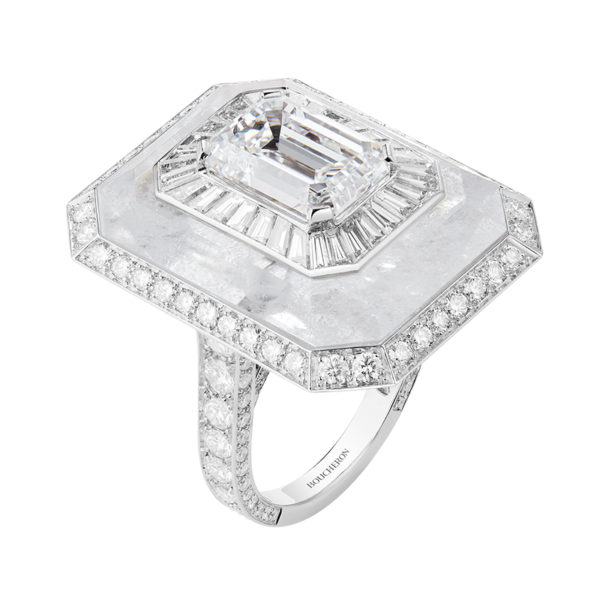 Miroirs Infini Ring with Emerald-Cut Diamond and Rock Crystal, Pavéd with diamonds
