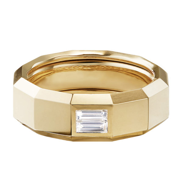 Faceted Band Ring in 18k Yellow Gold with Diamond Baguette