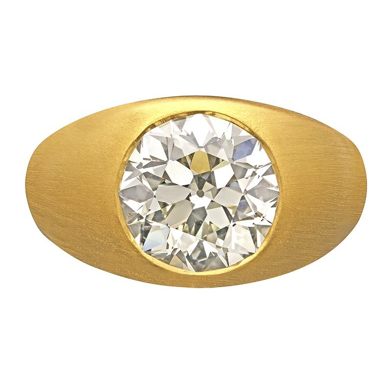 5.76ct Old European Round Cut Diamond Gypsy Set Ring in 22ct Yellow Gold