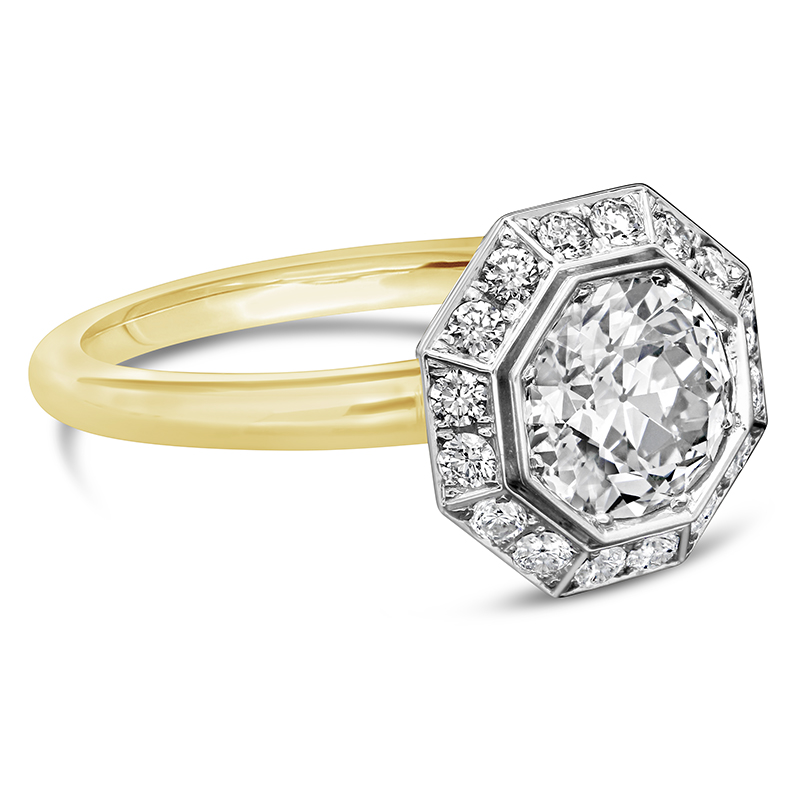1.21ct Octagonal Diamond Cluster Surround Ring