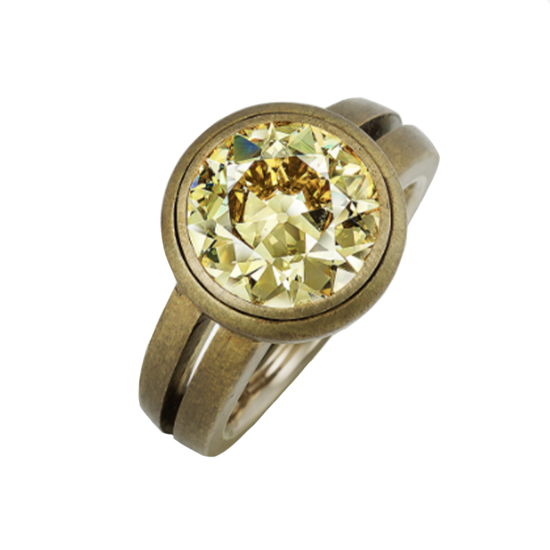 One-of-a-Kind Fancy Yellow Diamond, Brass, White Gold