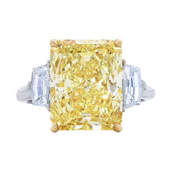 Yellow Radiant Cut Diamond Engagement Ring with Two Cadi Shape Side Stones
