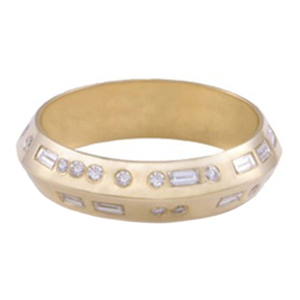 Yellow Gold Morse Code Ring with White Diamonds