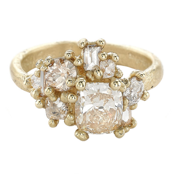 Champagne Diamond Sweeping Cluster Ring