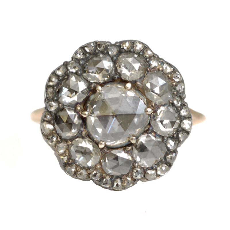 Rose Cut Diamond Button Ring