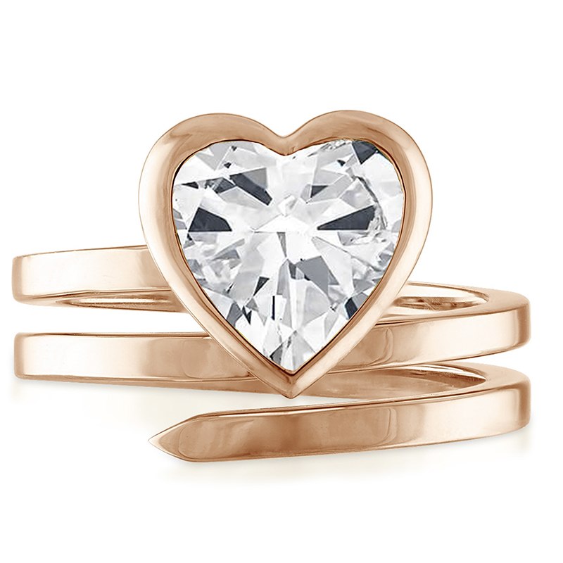 14K Rose Gold Coil Ring with Heart Shaped Natural Diamond Center Stone