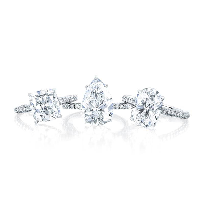 EF Cushion Pear Oval Engagement Ring Group
