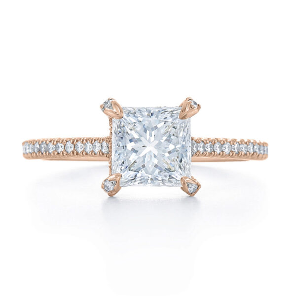Princess Cut Diamond Engagement Ring with a Thin Pave Diamond Band