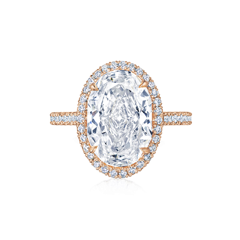 Oval Diamond Engagement Ring with a Thin Pave Diamond Halo