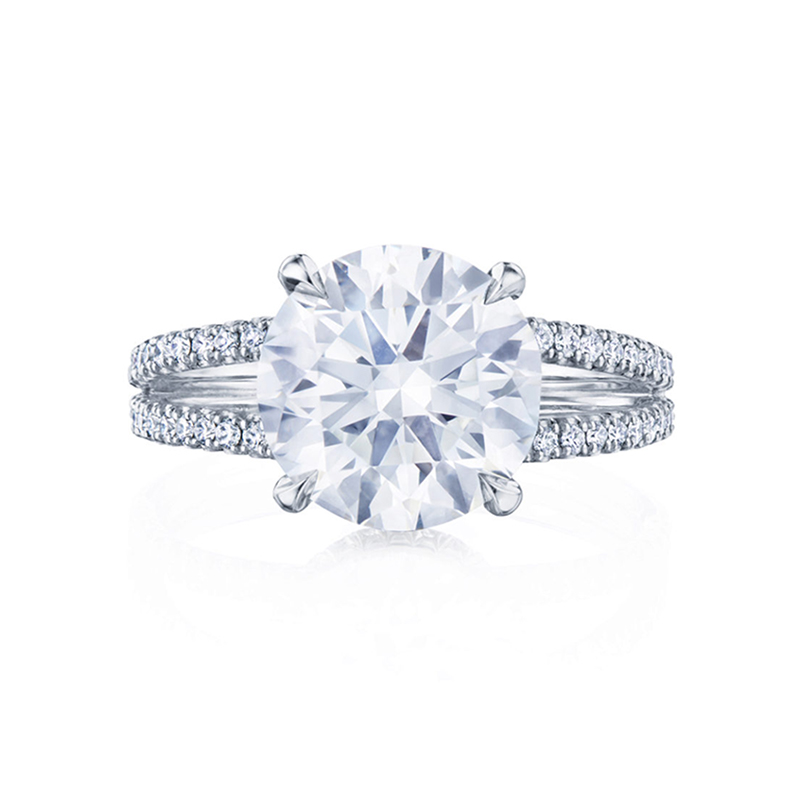 Round Brilliant Diamond Engagement Ring with a Pave Wrap Setting