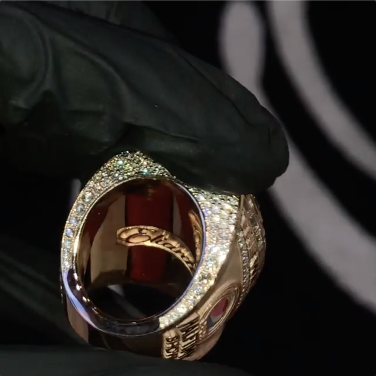 Side view of pave diamonds on The Weeknd's Super Bowl LV ring