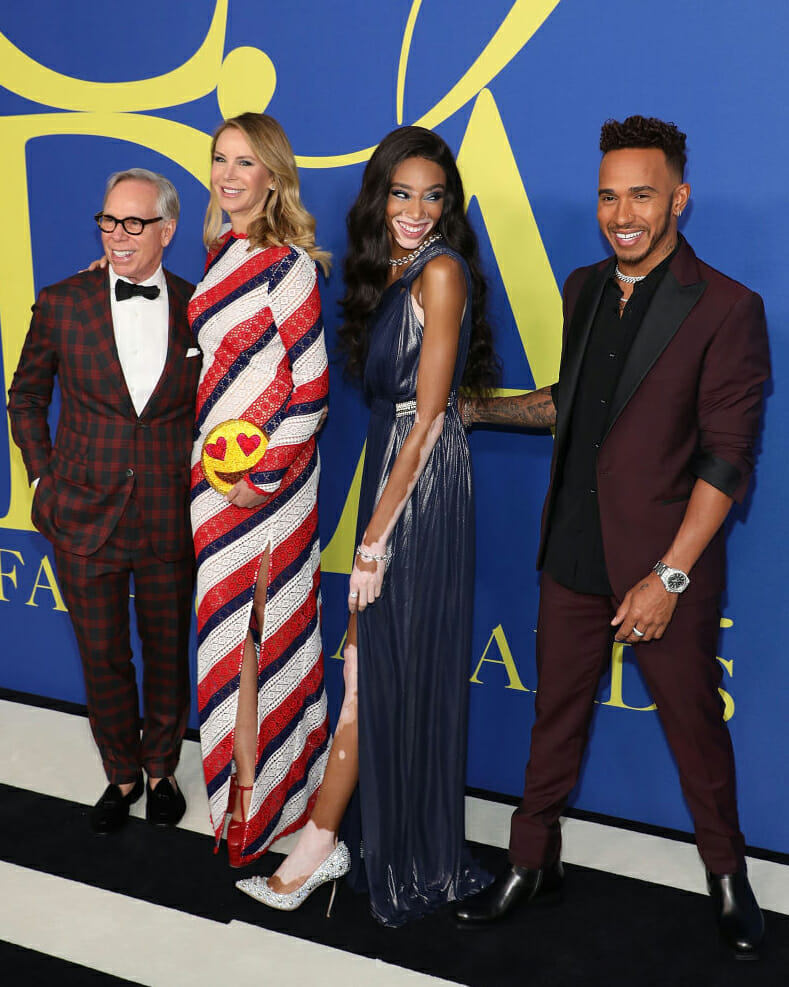Lewis Hamilton with Winnie Harlow and Dee and Tommy Hilfiger