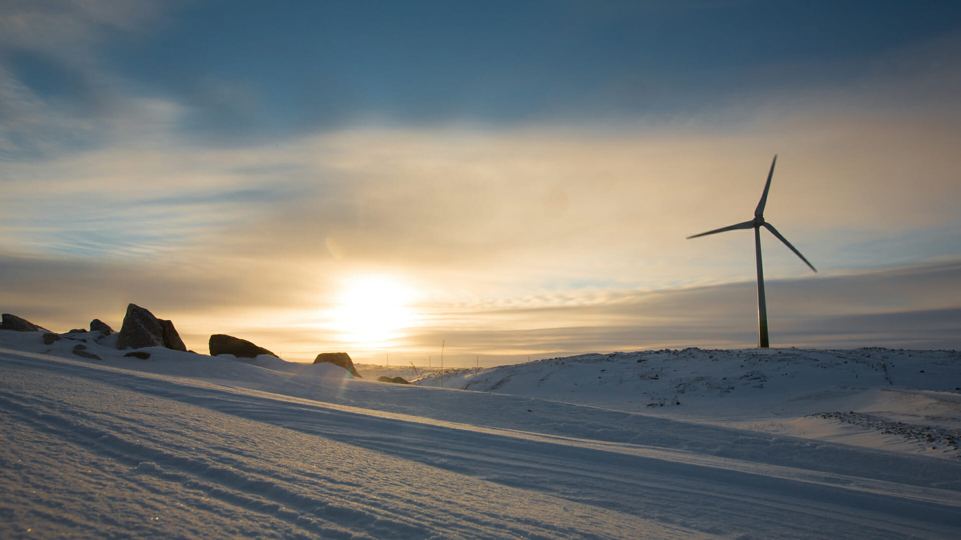 Turbine in snowy landscape