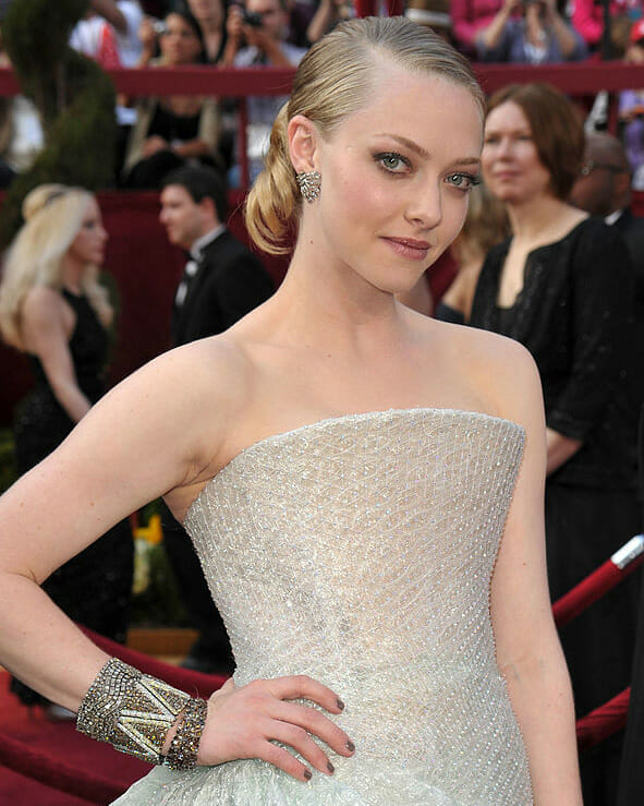 Actress Amanda Seyfried wearing diamonds at the 82nd Annual Academy Awards.