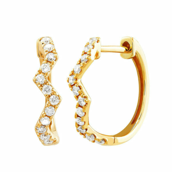 1/4 ct Diamond Zig Zag Hoop Earrings