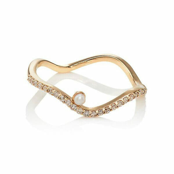 Diamond Wave Pear Ring