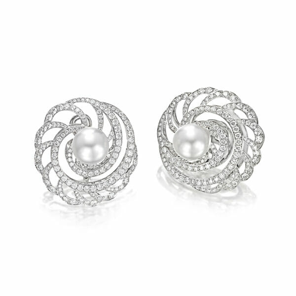 White Gold South Sea Pearl and Diamond Earrings