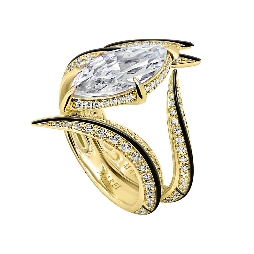 Ayla Marquise-Cut Diamond Engagement Ring with Black Enamel in 18K Yellow Gold