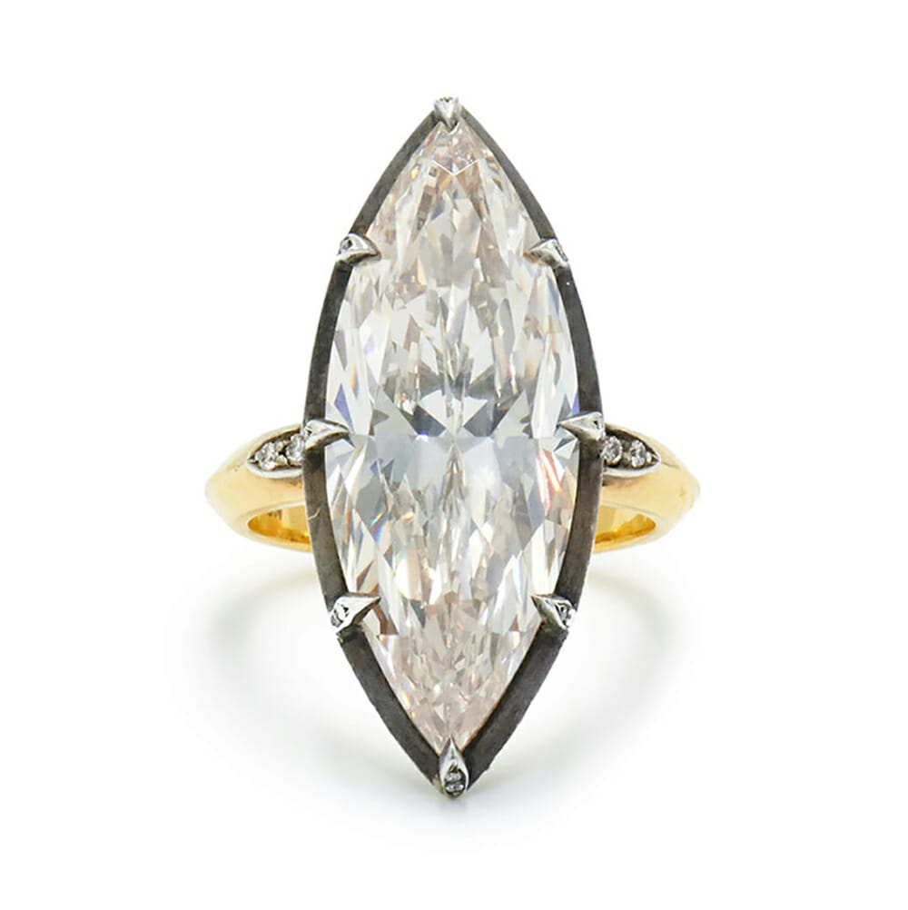 10.05ct Marquise Diamond Collet Ring Signed Fred Leighton