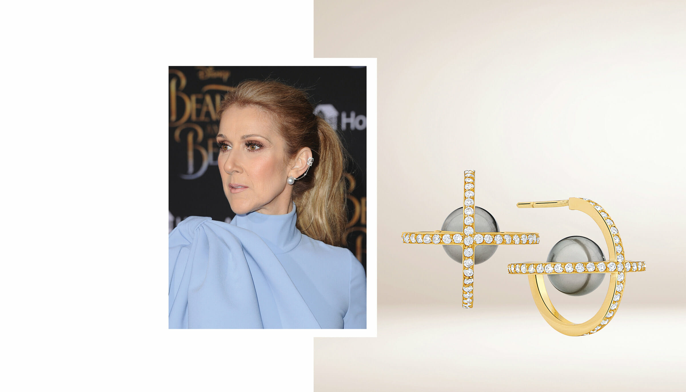 Celine Dion wearing a diamond and pearl ear cuff