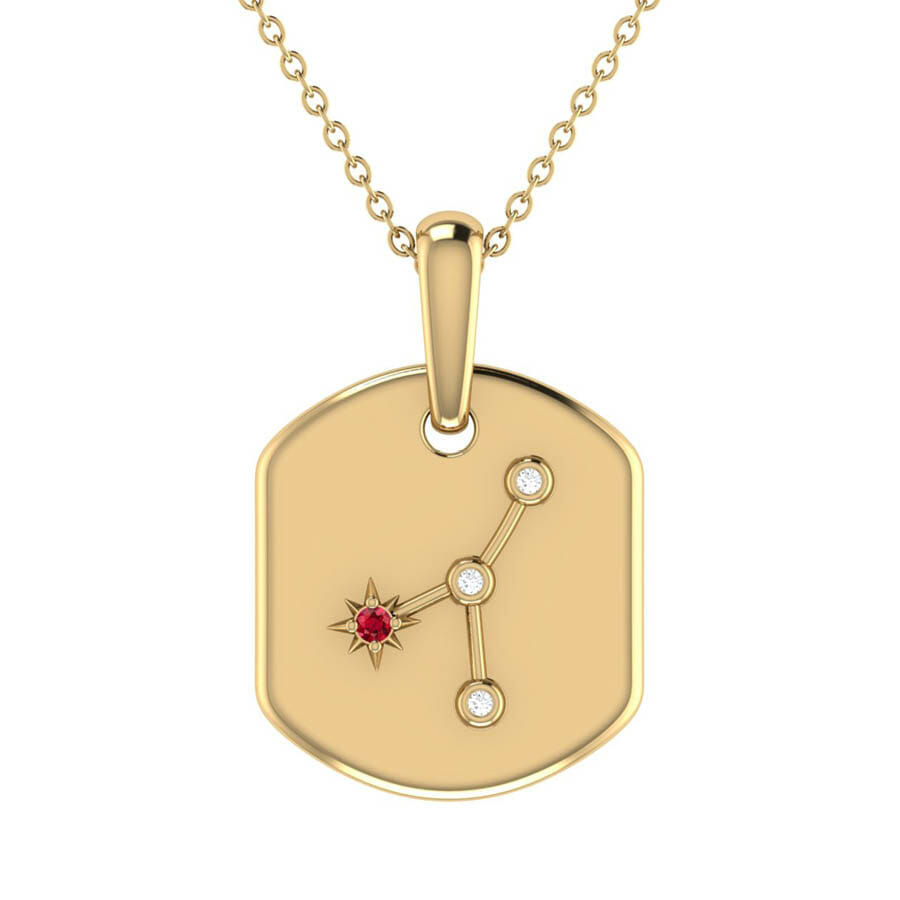 Cancer crab ruby & diamond constellation tag pendant necklace in sterling silver
