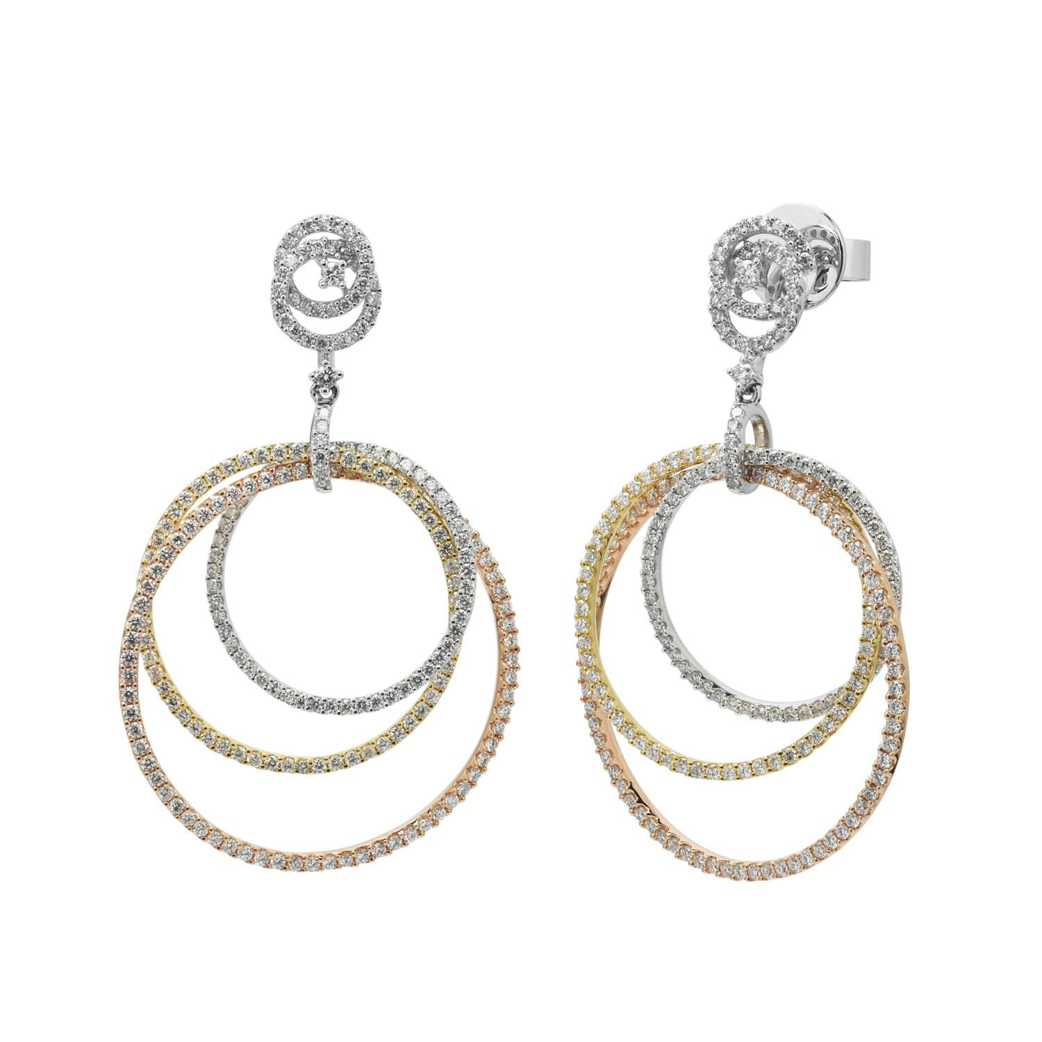Diamond Circle Earrings in 18kt White Yellow and Rose Gold