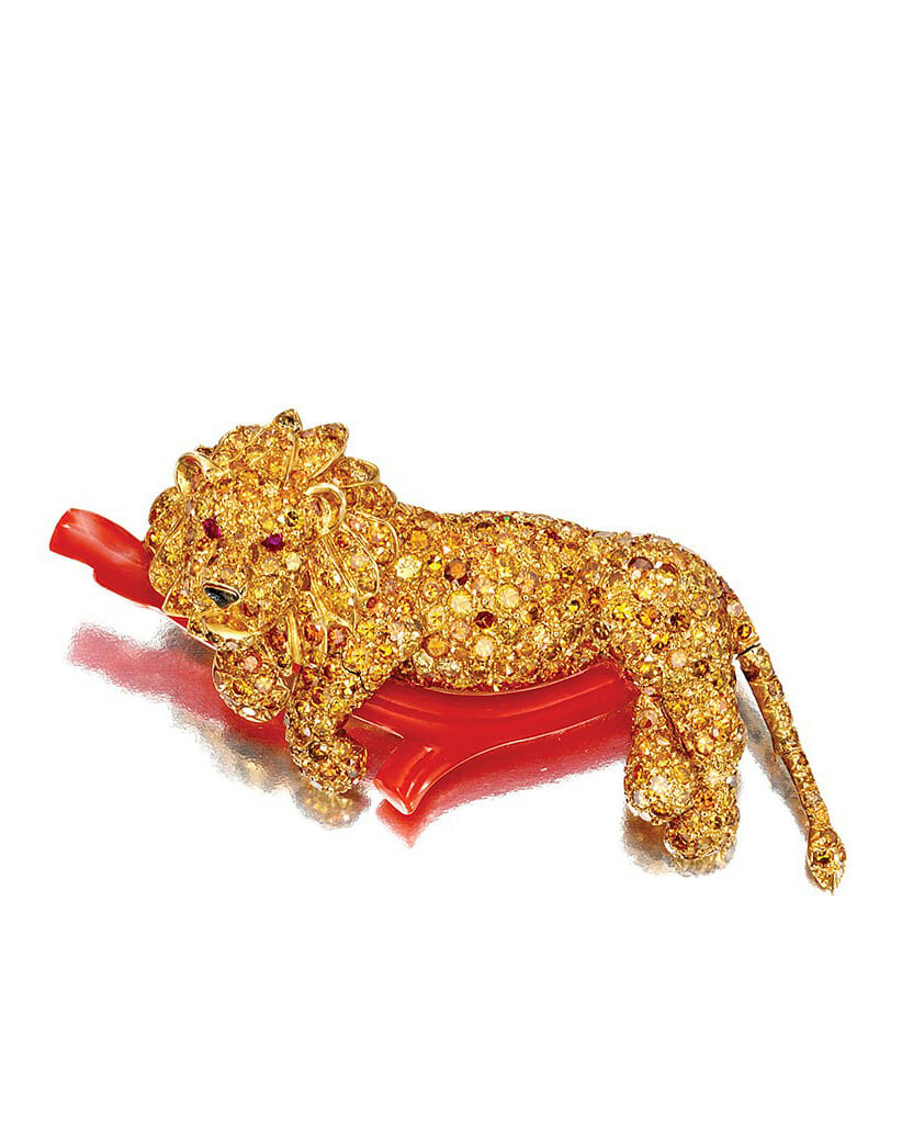 Beautiful Creatures exhibit with the Van Cleef & Arpels Colored Diamond, Ruby, Enamel and Coral Lion Brooch