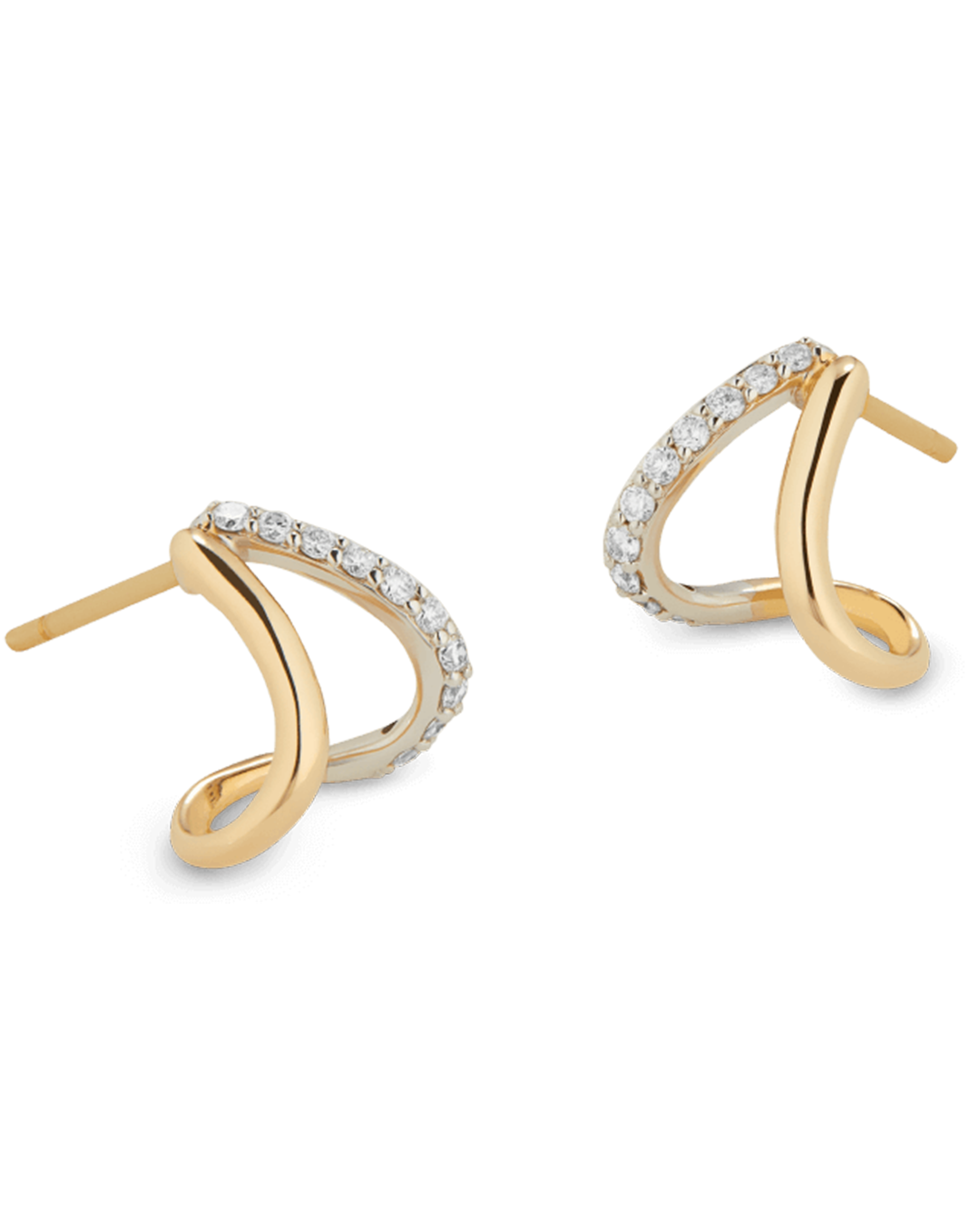 G Label Jewelry Emily Yellow Gold And Pavé Split Earrings