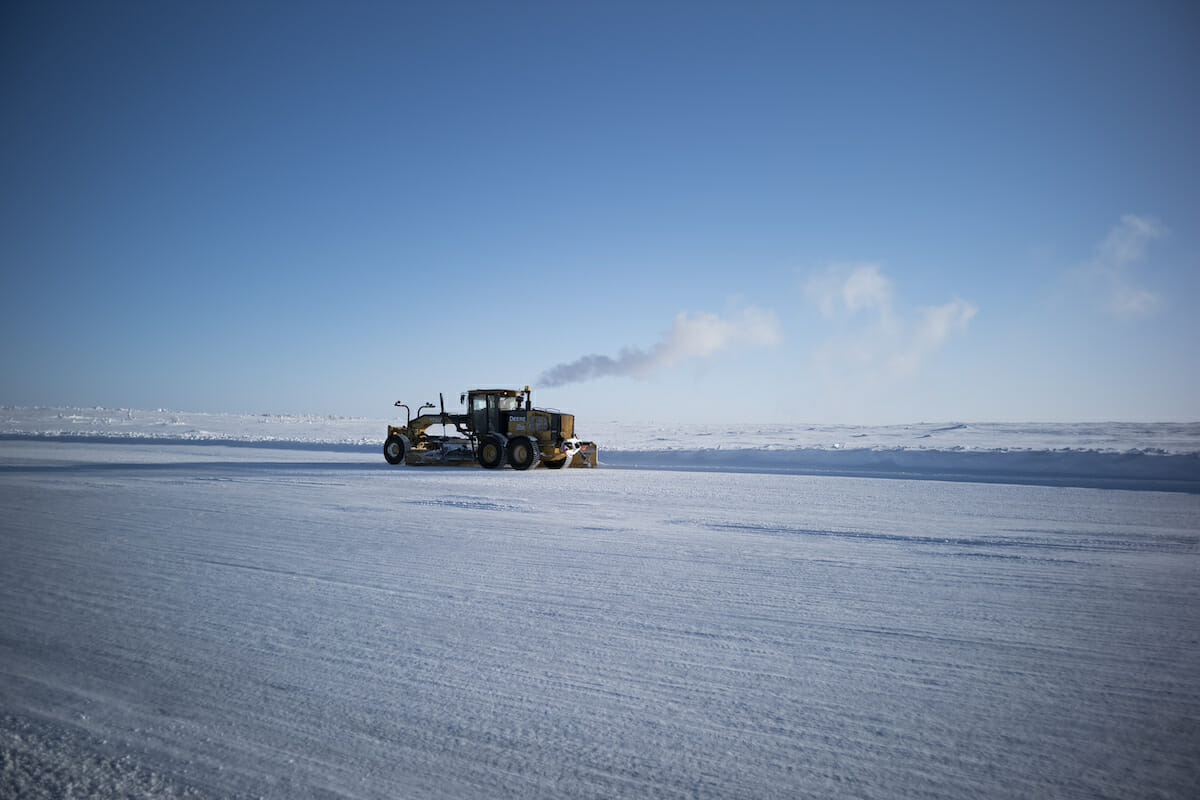 A truck on Canada's diamond ice road
