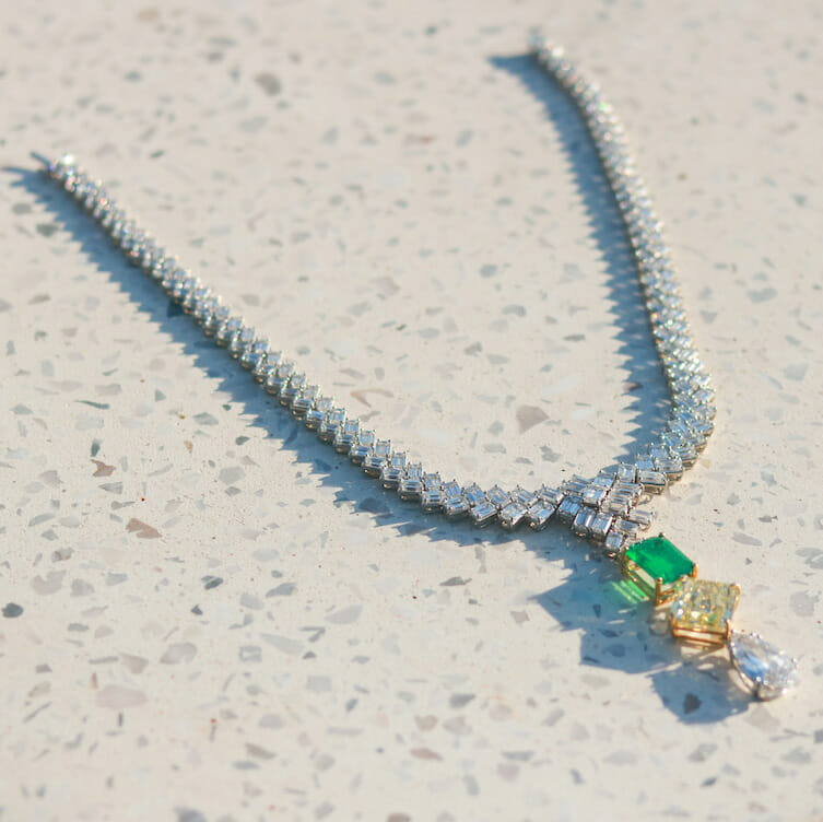 Bling Empire star Anna Shay's diamond and emerald necklace