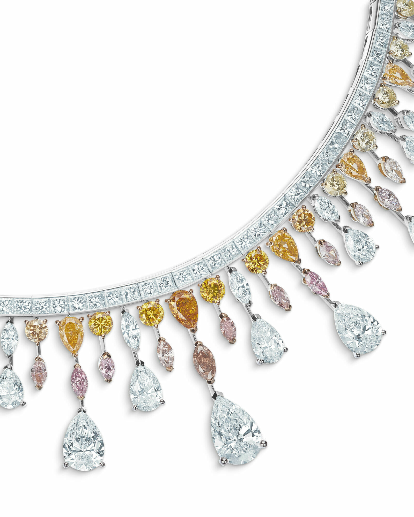 De Beers mixed cut diamond earrings and necklace